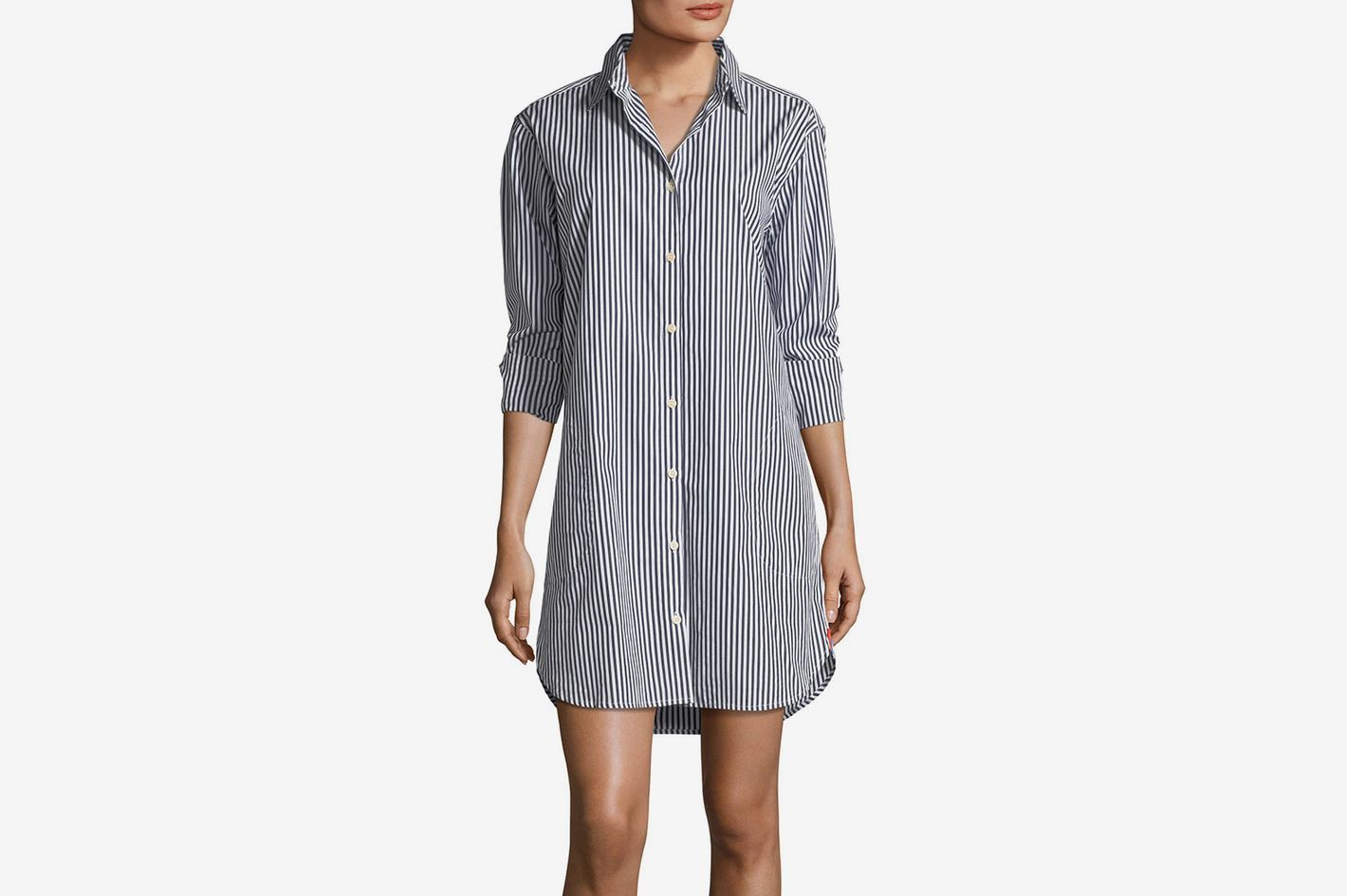 9225566918 Kule Long-Sleeve Striped Button-Down Shirtdress