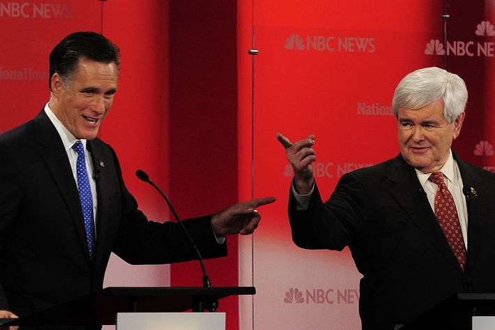 Republican presidential hopefuls Mitt Romney and Newt Gingrich take part in The Republican Presidential Debate at the University of South Florida in Tampa, Florida, January 23, 2012. Florida will hold its Republican primary on January 31, 2012.  AFP PHOTO/Emmanuel Dunand (Photo credit should read EMMANUEL DUNAND/AFP/Getty Images)
