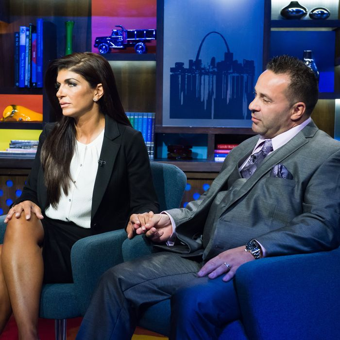 WATCH WHAT HAPPENS LIVE -- Episode 11159 -- Pictured: (l-r) Teresa Giudice, Joe Giudice -- (Photo by: Charles Sykes/Bravo/NBCU Photo Bank)