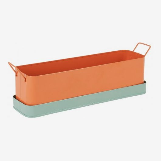 Leon Orange and Green Metal Window Box Planter