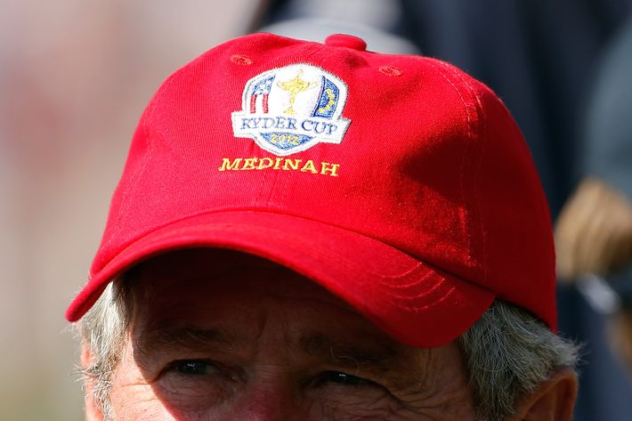 Former U.S. President George W. Bush watches the play during day two of the Afternoon Four-Ball Matches for The 39th Ryder Cup at Medinah Country Club on September 29, 2012 in Medinah, Illinois.  (Photo by Jamie Squire/Getty Images)