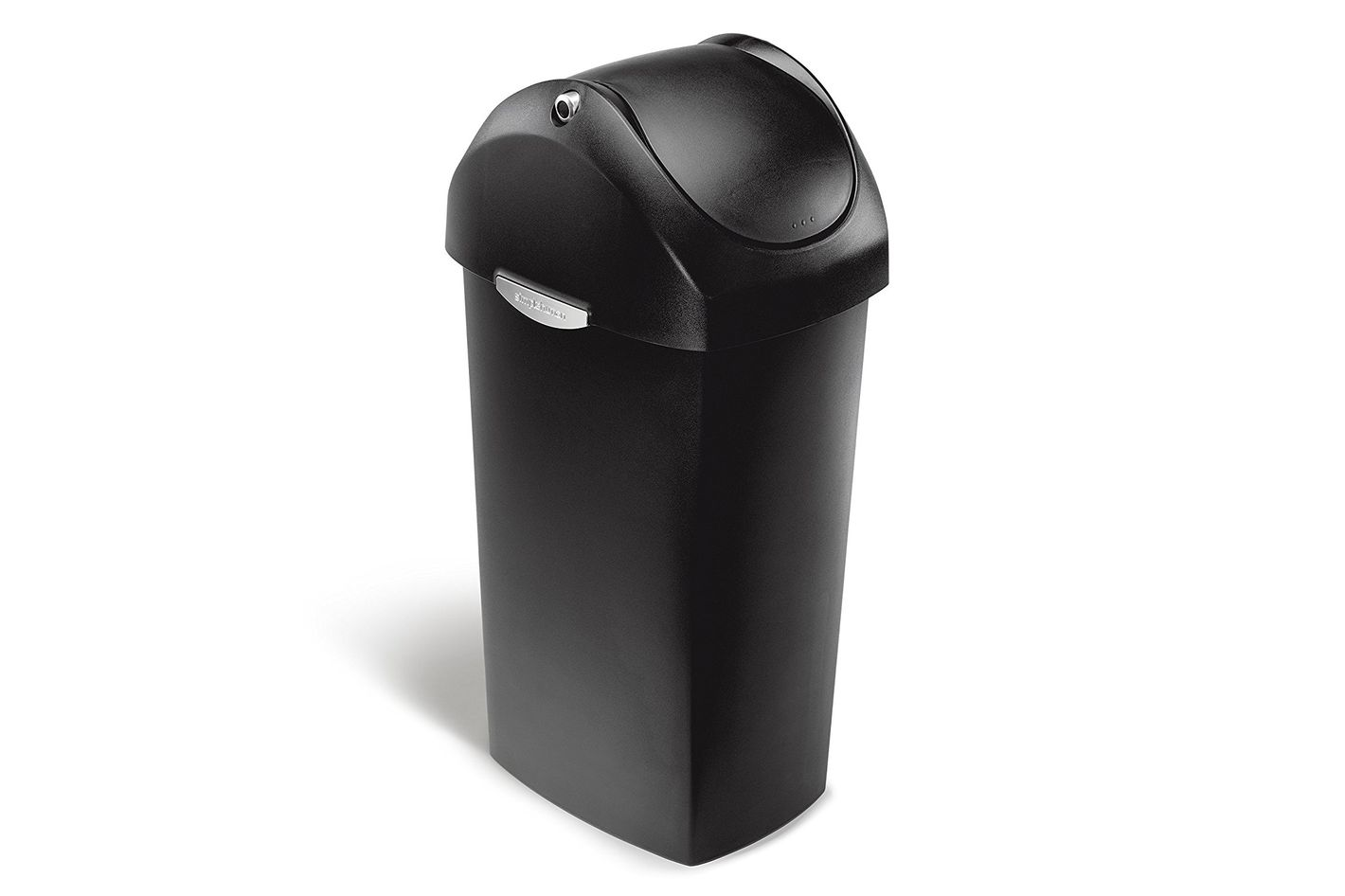 Simplehuman Swing Lid Trash Can, Black Plastic, 16 Gallons