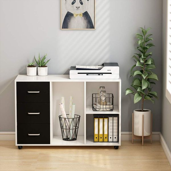 Tribesigns Office Storage Unit With Three-Drawer Lateral File Cabinet, 39 Inches Wide