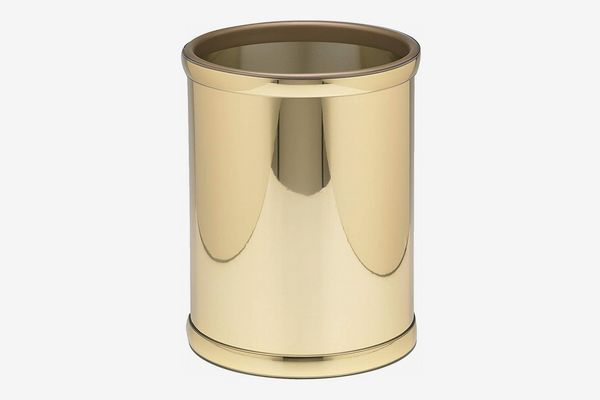 Kraftware Vinyl and Mylar Polished Round Waste Basket, Polished Brass