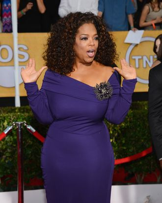 LOS ANGELES, CA - JANUARY 18: Oprah Winfrey attends the 20th Annual Screen Actors Guild Awards at The Shrine Auditorium on January 18, 2014 in Los Angeles, California. (Photo by Ethan Miller/Getty Images)