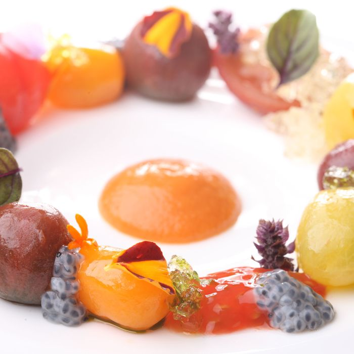 Satur Farms tomatoes, with tomato gelée.