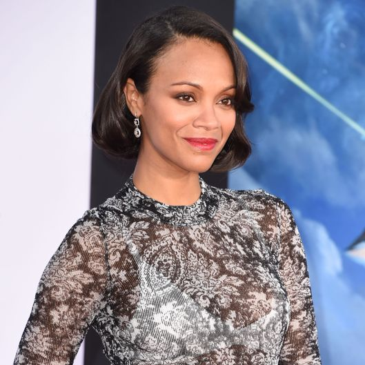 "HOLLYWOOD, CA - JULY 21:  Zoe Saldana arrives at the Marvel's ""Guardians Of The Galaxy"" - Los Angeles Premiere at the El Capitan Theatre on July 21, 2014 in Hollywood, California.  (Photo by Steve Granitz/WireImage)"