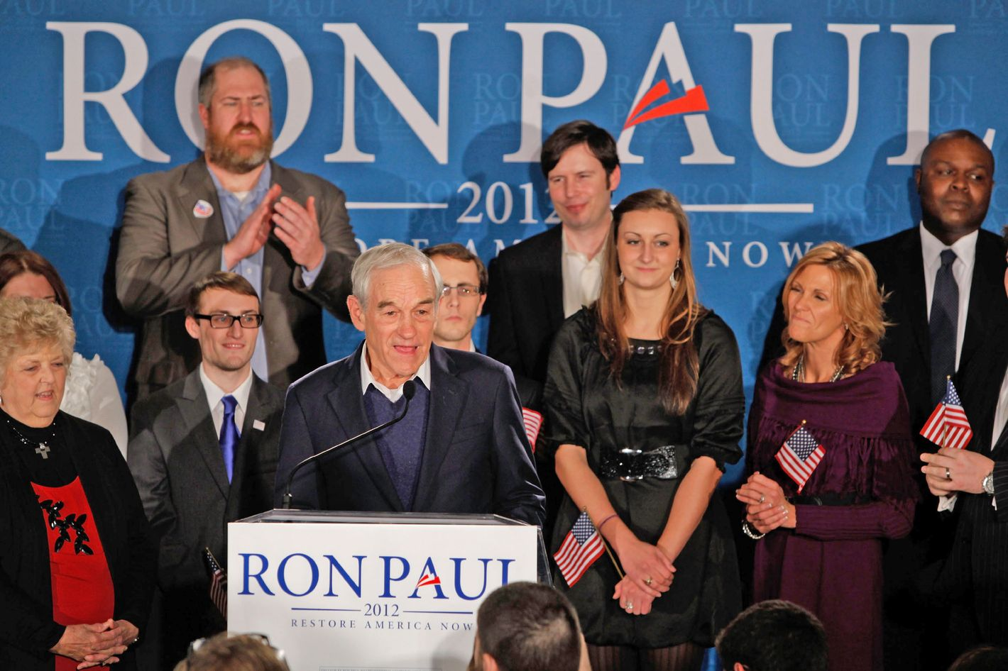 MANCHESTER, NH - JANUARY 10:  Republican presidential candidate, U.S. Rep. Ron Paul (R-TX), speaks to supporters at his primary night campaign rally on January 10, 2012 in Manchester, New Hampshire. According to early results, Paul finished second behind former Massachusetts Gov. Mitt Romney in the first in the nation primary.  (Photo by Andrew Burton/Getty Images)