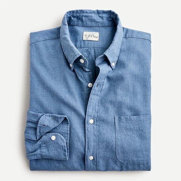 J.Crew Slim Untucked Cotton-Linen Twill Shirt