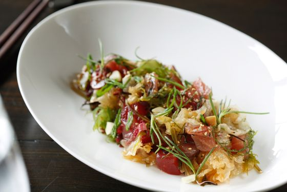 Big-eye tuna poke, macadamia nuts, pickled jalapeño, seaweed.