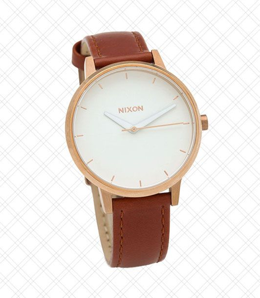 "Looks like a crazy-expensive ""investment watch.""  <i>$125 at <a href=""http://www.shopbop.com/kensington-leather-watch-nixon/vp/v=1/845524441944100.htm?folderID=2534374302178261&fm=browse-brand-shopbysize-viewall&colorId=36478"">Shopbop</a></i>"