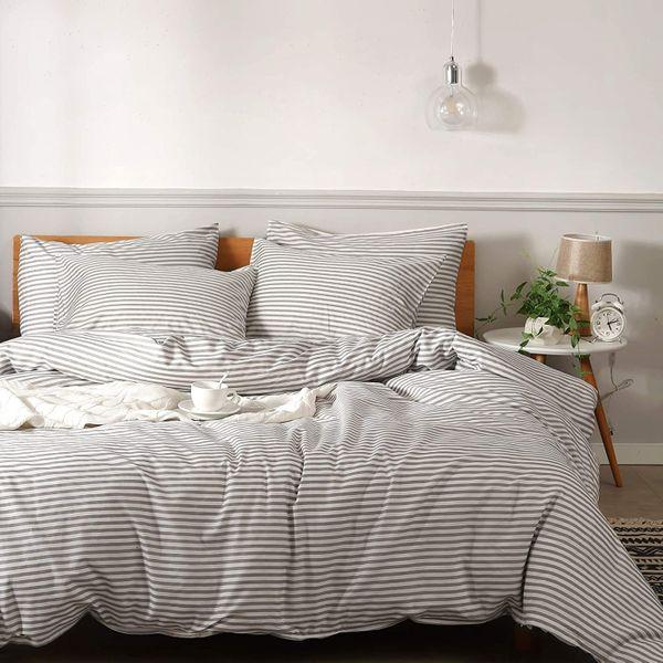 JELLYMONI 100% Natural Cotton 3pcs Striped Duvet Cover Set - Queen