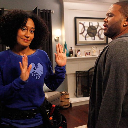 "BLACK-ISH - ""Law of Attraction"" - Dre thinks Rainbow is questioning his machismo after another man dismisses him in front of her. But when Pops swoops in to help his son save face, Ruby (guest star Jenifer Lewis) is attracted to this show of manliness and the couple reignite their love affair. Meanwhile, things get awkward when Jr. is selected to play ""Romeo"" to his sister Zoey's ""Juliet"" in their school play, on ""black-ish,"" WEDNESDAY, JANUARY 7 (9:31-10:00 p.m., ET) on the ABC Television Network. (ABC/Kelsey McNeal)TRACEE ELLIS ROSS, ANTHONY ANDERSON"
