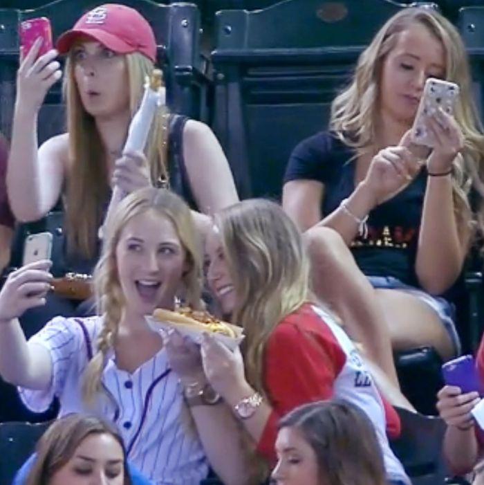Sorority girls taking selfies