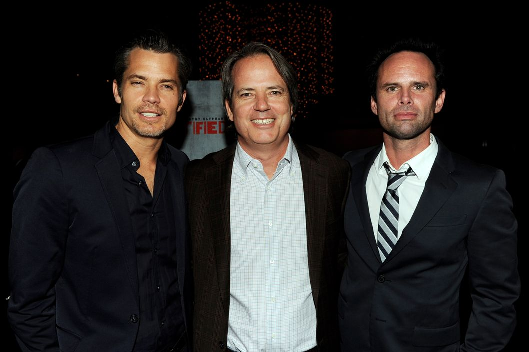 "Actor Timothy Olyphant, executive producer Graham Yost and actor Walton Goggins arrive at the premiere of FX Networks & Sony Pictures Television's ""Justified"" Season 3"
