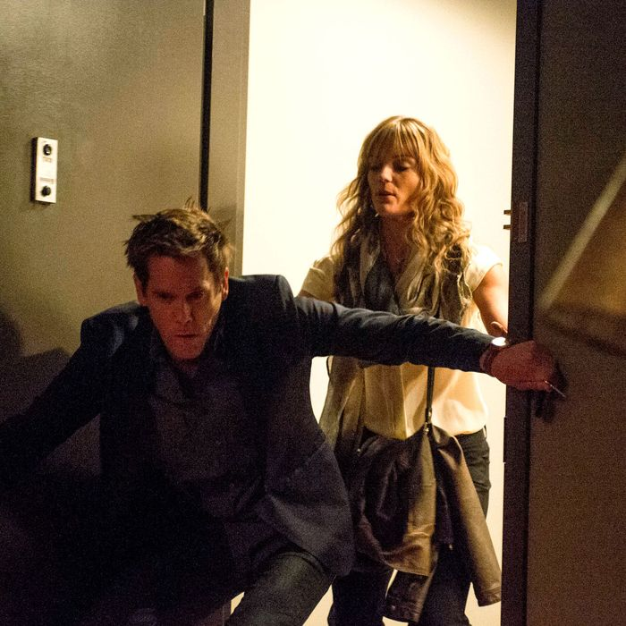 THE FOLLOWING: In a flashback scene, Ryan's (Kevin Bacon, L) sister Jenny (guest star Susan Misner, R), takes care of him after he drinks too much in the