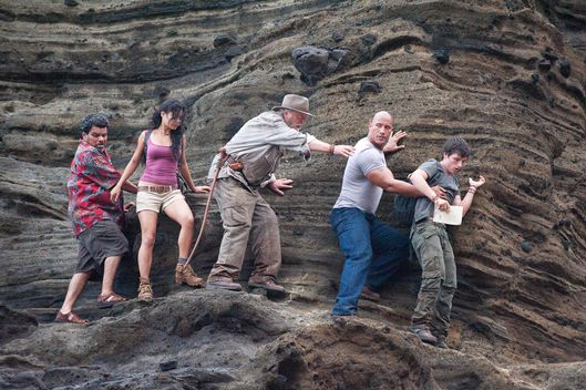 "(L-r) LUIS GUZM?N as Gabato, VANESSA HUDGENS as Kailani, MICHAEL CAINE as Alexander, DWAYNE JOHNSON as Hank, and JOSH HUTCHERSON as Sean in New Line Cinema's family adventure ""JOURNEY 2: THE MYSTERIOUS ISLAND,"" a Warner Bros. Pictures release.Photo by Ron Phillips"