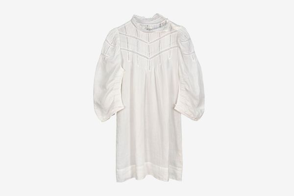 Dôen Georgia Lace-Trimmed Pintucked Dress