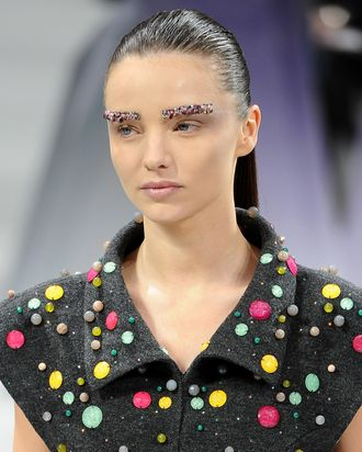 Miranda Kerr in Chanel's fall 2012 runway show.