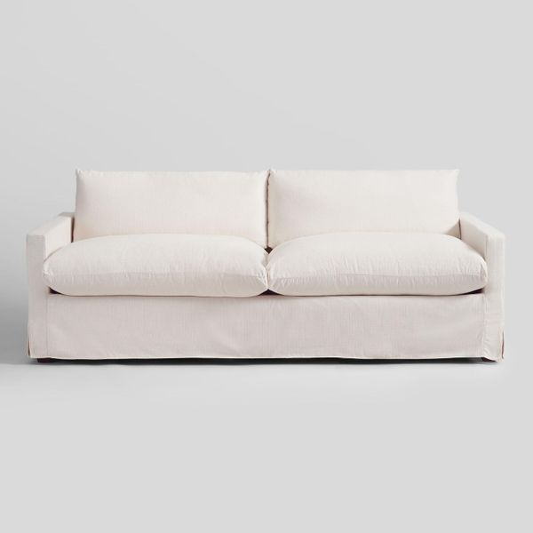Ivory feather filled brian sofa