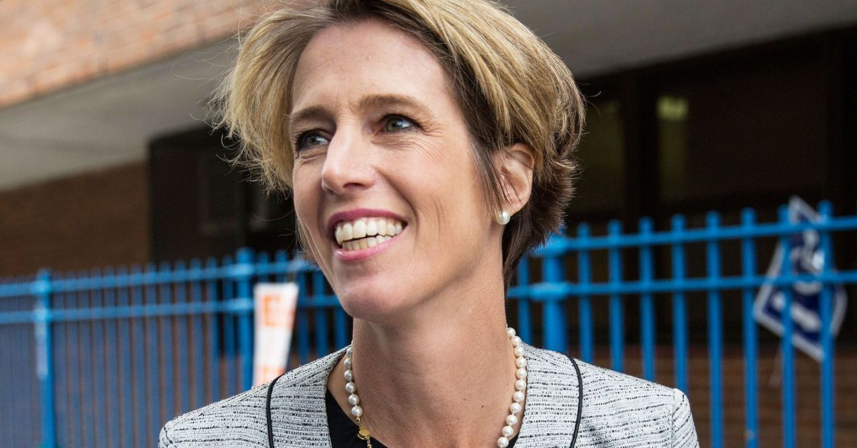Zephyr Teachout, a democratic primary challenger to New York Governor Andrew Cuomo, greets voters outside a voting station at Public School 153 on September 9, 2014 in New York City. Teachout has gained unexpected traction in the primary season, campaigning on ending corruption in the state capital of Albany.