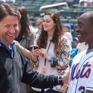 NEW YORK, NY - APRIL 28:  COO of the New York Mets Jeff Wilpon (L) and actor Don Cheadle attend the Philadelphia Phillies vs New York Mets game at Citi Field on April 28, 2013 in New York City.  (Photo by Michael Stewart/Getty Images)
