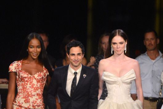 (L-R) Naomi Campbell, designer Zac Posen, and Coco Rocha walk the runway at the Zac Posen Spring 2013 fashion show during Mercedes-Benz Fashion Week at Avery Fisher Hall at Lincoln Center on September 9, 2012 in New York City.