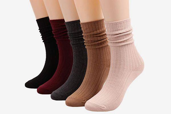 Galsang 5 Pairs Womens Cotton Crew Knit Socks