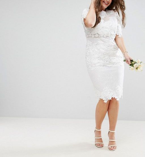 ASOS Edition Curve Lace Embroidered Midi Wedding Dress