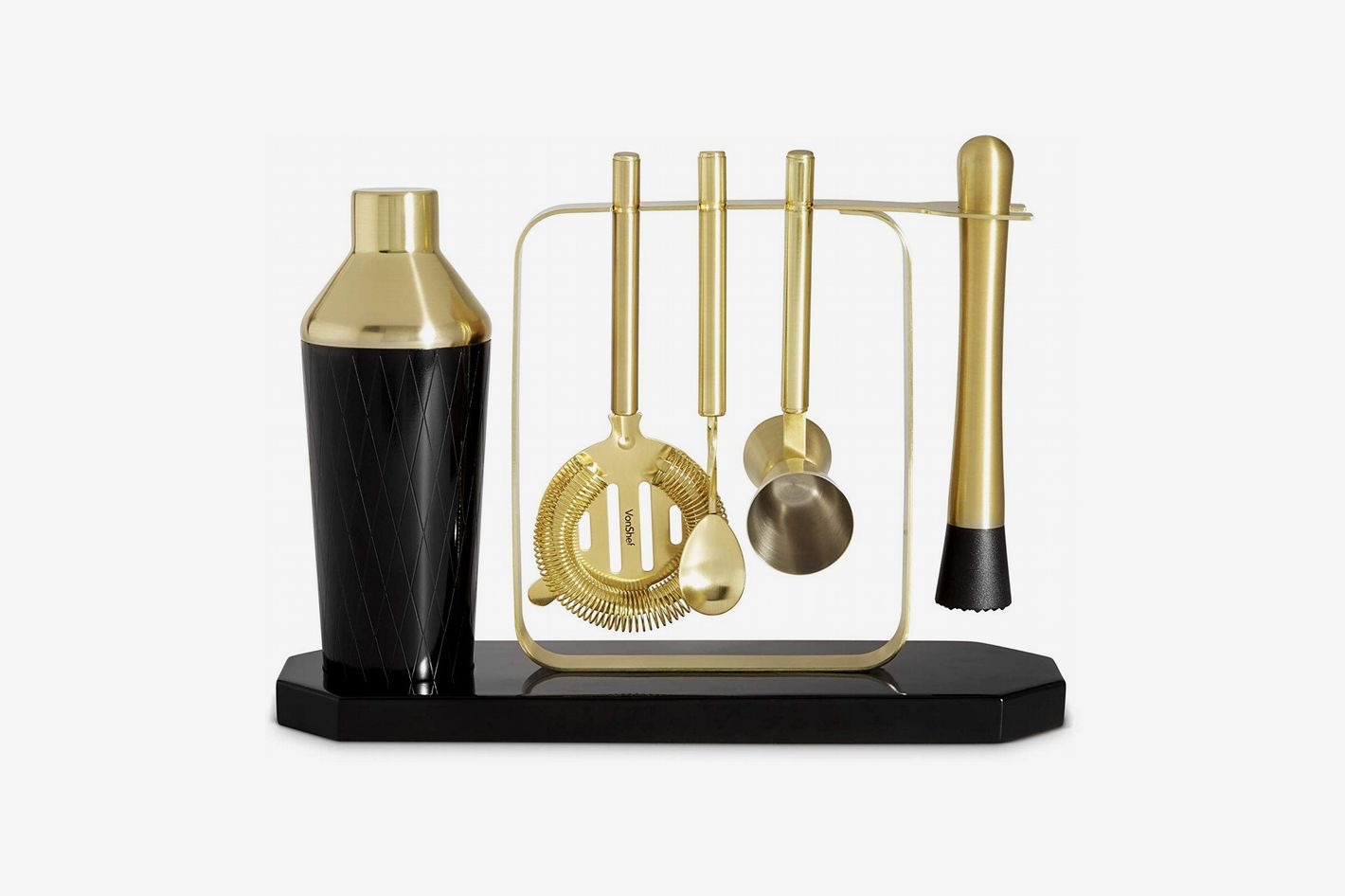 VonShef Black & Gold Cocktail Shaker Set