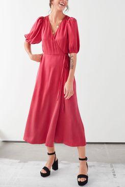 Puff Sleeve Maxi Wrap Dress