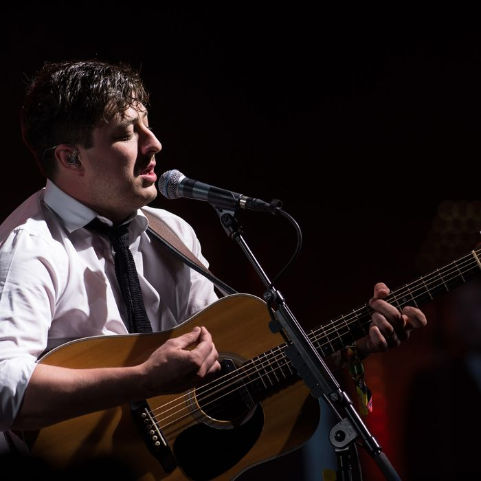 GLASTONBURY, ENGLAND - JUNE 30: Marcus Mumford of Mumford & Sons performs on the Pyramid Stage during day 4 of the 2013 Glastonbury Festival at Worthy Farm on June 29, 2013 in Glastonbury, England. (Photo by Ian Gavan/Getty Images)