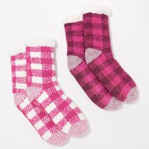 Cuddl Duds Buffalo Check Sherpa Lined Socks Set of 2