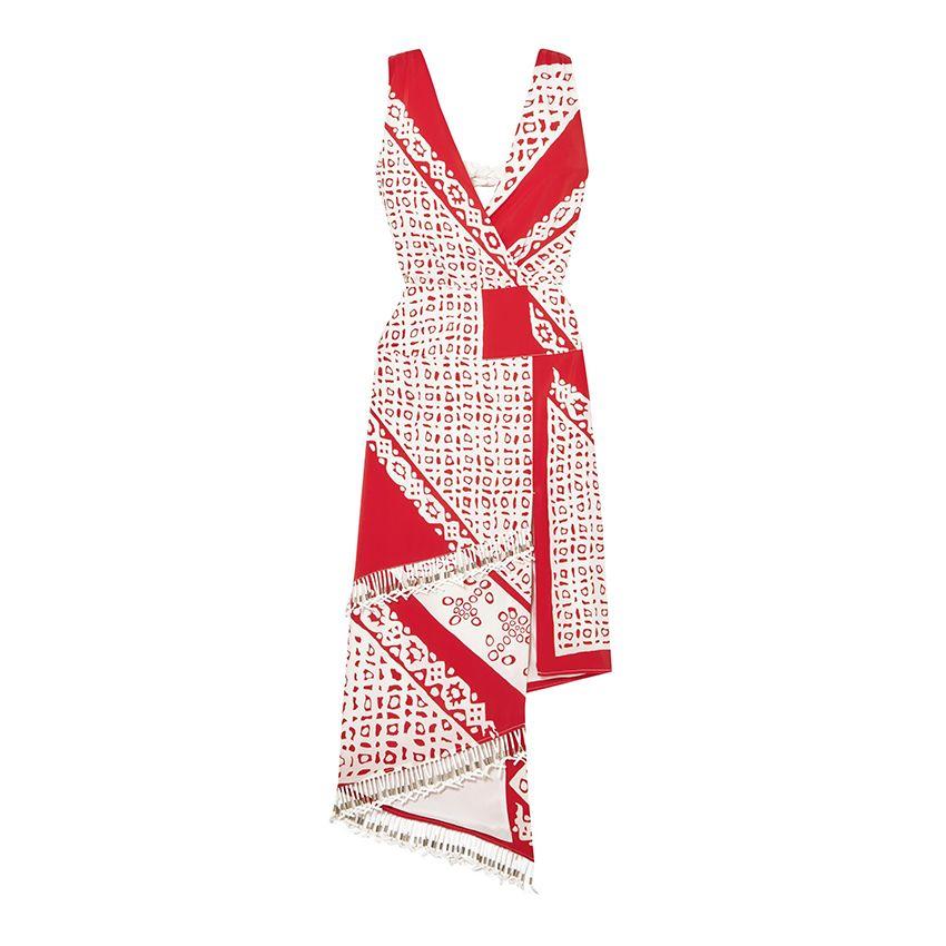 Altuzarra Pavilion embellished wrap-effect printed silk midi dress