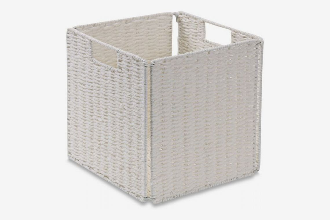 Real Simple Woven Paper Rope Folding Storage Basket in White