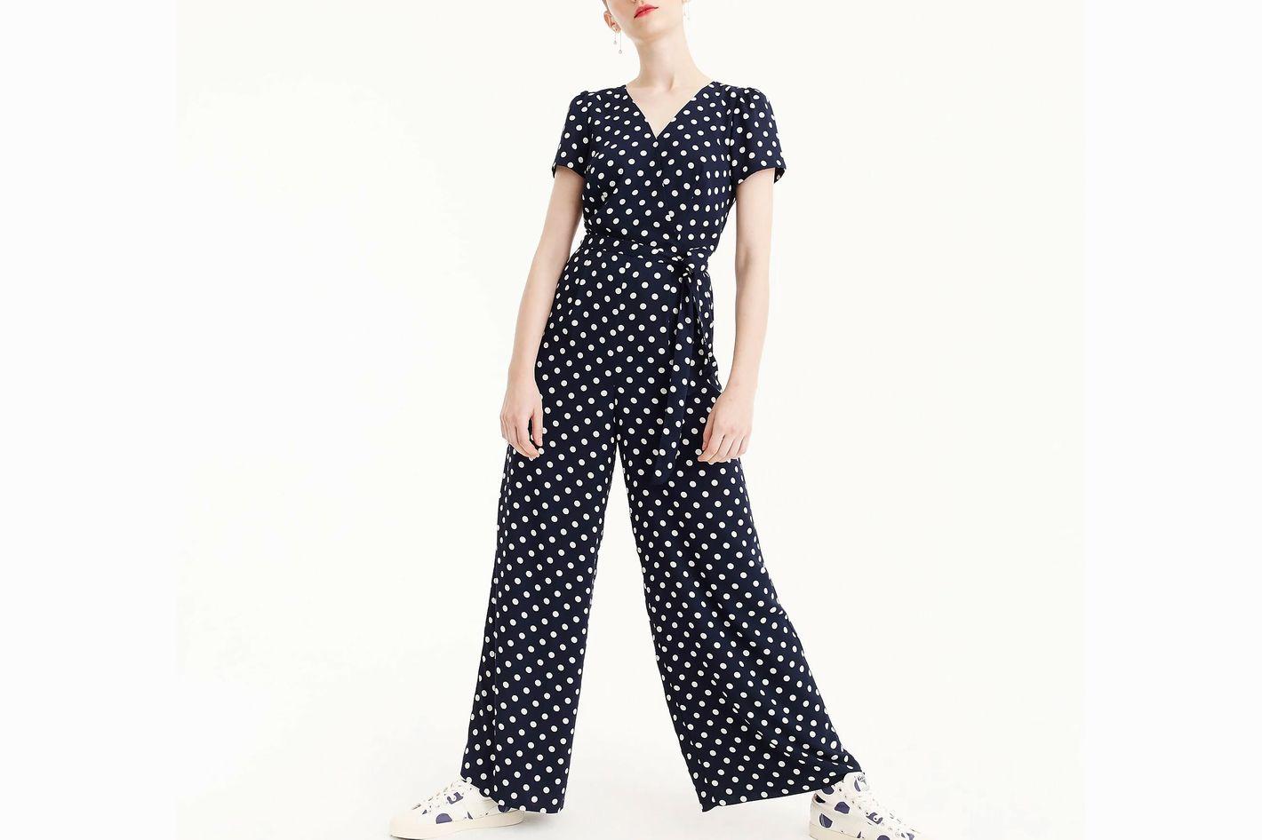 Short-Sleeve Wrap Jumpsuit In Polka Dot