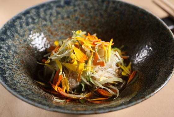 West Coast Dungeness crab with cucumber, kiku (chrysanthemum), and tosazu.