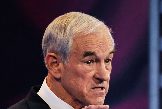 DES MOINES, IA - DECEMBER 10:  U.S. Rep. Ron Paul (R-TX) speaks during the ABC News GOP Presidential debate on the campus of Drake University on December 10, 2011 in Des Moines, Iowa. Rivals were expected to target front runner Gingrich in the debate hosted by ABC News, Yahoo News, WOI-TV, The Des Moines Register and the Iowa GOP.  (Photo by Kevork Djansezian/Getty Images)