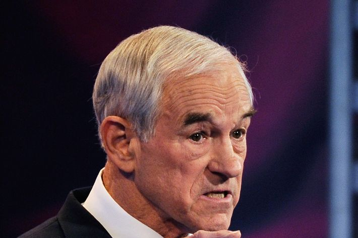 U.S. Rep. Ron Paul (R-TX) speaks during the ABC News GOP Presidential debate on the campus of Drake University on December 10, 2011 in Des Moines, Iowa.