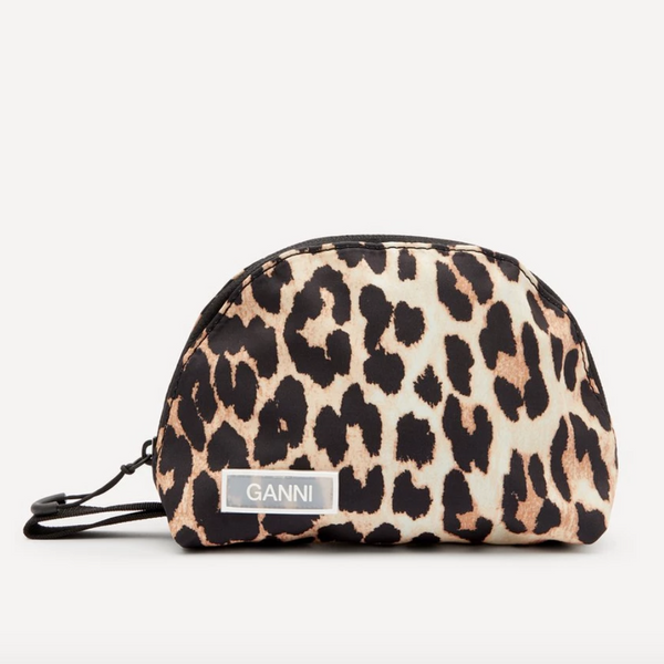 Leopard Print Tech Fabric Toiletry Bag