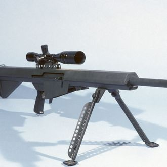 A Barrett light .50-caliber sniper rifle with scope.