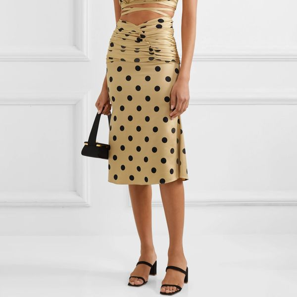 Orseund Iris Le Club Polka-Dot Satin Skirt