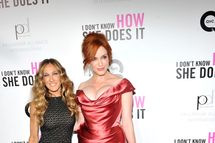 """NEW YORK, NY - SEPTEMBER 12:  Actresses Sarah Jessica Parker and Christina Hendricks attend the premiere of The Weinstein Company's """"I Don't Know How She Does It Premiere"""" sponsored by QVC & Palladium Jewelry at AMC Lincoln Square Theater on September 12, 2011 in New York City.  (Photo by Stephen Lovekin/Getty Images for The Weinstein Company)"""