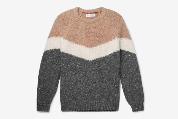 Brunello Cucinelli Striped Mélange Alpaca-Blend Sweater