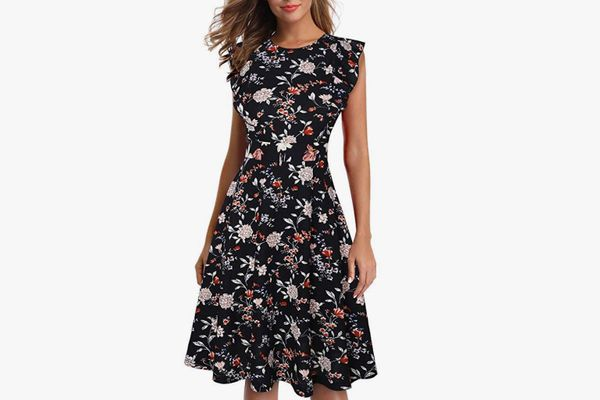 IHOT Vintage Ruffle Floral Cocktail Dress