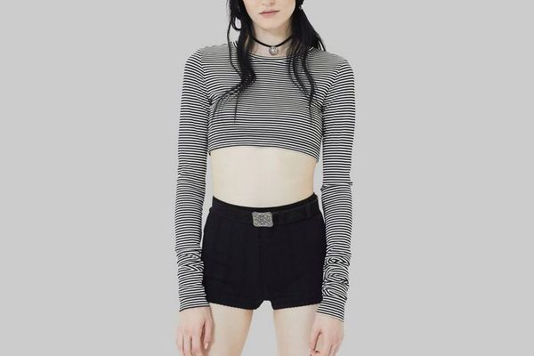 Marc Jacobs Striped Long-Sleeve Crop Top