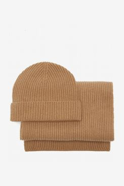 Johnstons of Elgin Ribbed-Cashmere Beanie Hat & Scarf