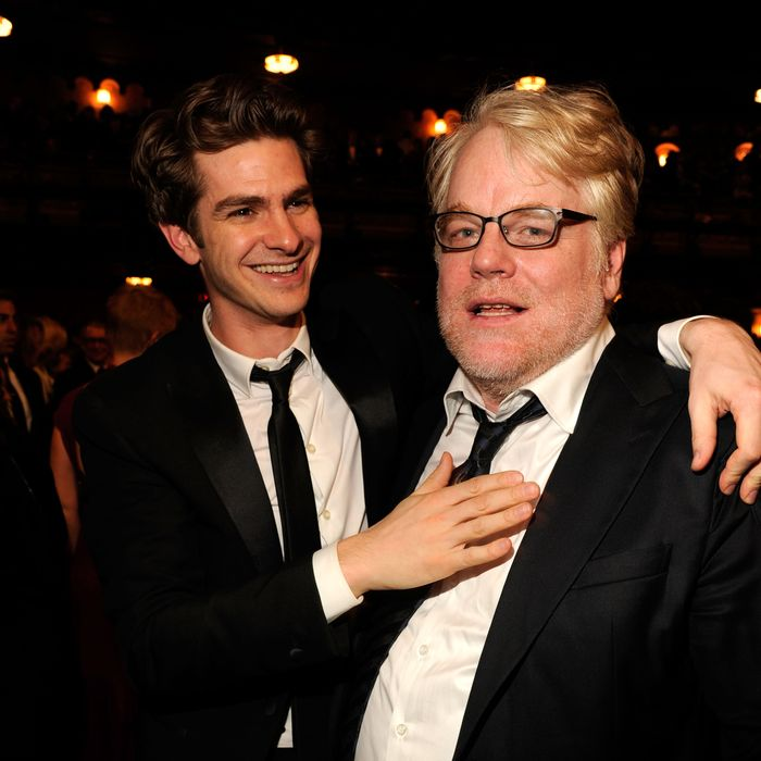 Actors Andrew Garfield and Philip Seymour Hoffman attend the 66th Annual Tony Awards