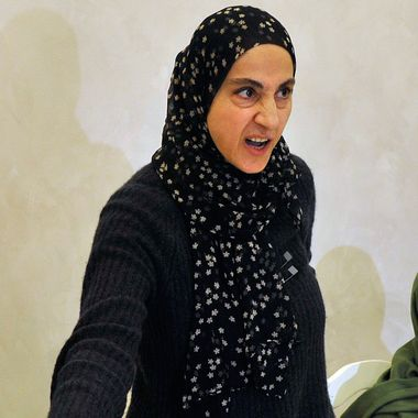 Zubeidat Tsarnaeva, the mother of the suspected Boston bombers, brothers Tamerlan and Dzhokhar Tsarnaev, gestures as she attends a news conference in Makhachkala on April 25, 2013. The mother of the two brothers suspected of carrying out the Boston bombings on Thursday launched an impassioned attack on the US authorities over the death of one of her sons, as her husband planned to return to the United States find out what happened. The parents of the two suspects Tamerlan and Dzhokhar Tsarnaev, spoke to reporters at a news conference in the Russian region of Dagestan where they were living when the Boston marathon bombings took place.