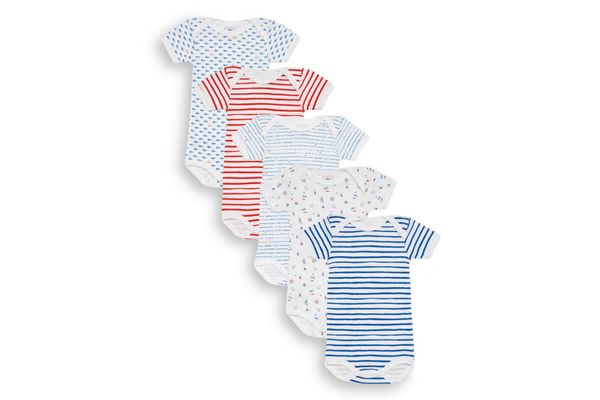 Petit Bateau Baby's Five-Piece Striped & Mixed-Print Bodysuits Set